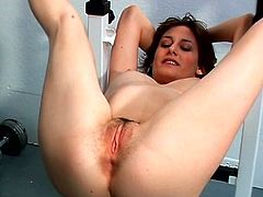 Lewd brunette mom Nadia Blu and some guy are playing dirty games in a gym. They have ardent oral sex and then bang in missionary position on a gym apparatus.