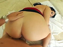Curvy brunette Cassandra Calogera kneels in front of some dude and drives him crazy with a terrific blowjob. Then she stands on all fours and gets her snatch slammed.