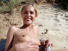 Hot blonde whore Sasha loves sunbathing on the nudist beach and horny dude uses it. He came and quickly boned her with his big stiff cock.
