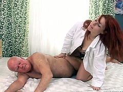 Diana Sun has wild sex with old man after medical examination. She gives him a blowjob. Later on Diana gets fucked in a cowgirl position.
