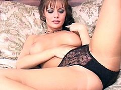 Adorable with impressive boobs, Crissy Moran, enjoys finger fucking solo session