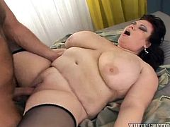 Bbw Anne is ridding her guy with that sexy, big, fat ass. She bounces her booty on his cock making him wanna cum and then, lays on her back. The slut receives a well deserved cum load on her huge boobs and enjoys every drop. She earned it!