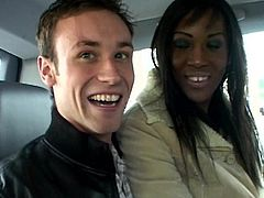 Lusty ebony pays for her ride with an amazing blowjob in the car