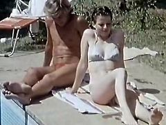 Short haired light colored whorish harlot rested leg spread near swimming pool. Her fuck starving dude gave her powerful sweet kitty licking. Watch this amazing twat eating in The Classic Porn sex video!