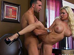 Curvaceous mom with juicy jugs takes massive dong deep up her ass doggy style. She moans wild as the pucker is stretched wide as fuck. Diamond Foxxx' cuckold witnesses the whole action.