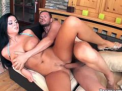 Christina Jolie can't help it after she rub her  pussy while caressing her tits that her man dive between her legs to munch muffin then pound her hard and good with her lover's hard man meat.