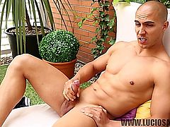 Super sexy Spanish guy Victor Lopez strokes his big dick