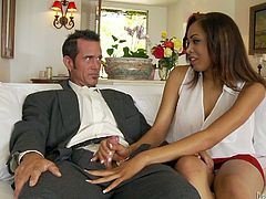 Fantastic brown-haired babe Serena Ali gives a handjob to Rusty Nails and shows him her awesome body. Then they fuck in the reverse cowgirl and missionary position and seem to be unable to stop.