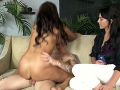 Claudia Valentine and Ashley Stone are having fun with some horny man indoors. The milf favours the stud with a blowjob and lets him fuck her shaved twat in side-by-side and other positions and the girl watches them all the time.
