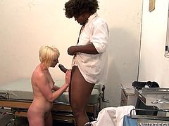 Black dude called Hooks is having fun with salacious blonde Nora Skyy. He makes the hussy suck his boner and then they fuck doggy style and in cowgirl position.
