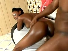 Amazing Black girl shows off her nice ass and sucks big black cock. After Coffee fondles her wet pussy and gets rammed from behind.