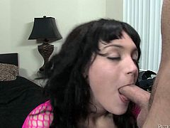 Her fishnet top shows off her incredible tits in all their glory as she works her mouth on his shaft and milks every last drop out.
