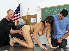She comes to the class, wearing a hot mini skirt! That tells something about her and then she seduces three men and gets balled in a gangbang!