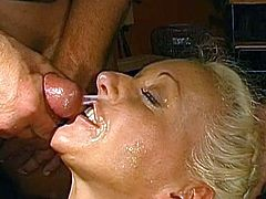 Nasty chick enjoys warm jizz dripping all over her sweet face