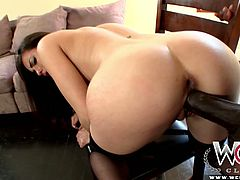 Glamorous dark haired babe Casey Calvert takes off her black dress and gets her tight cunt fucked doggystyle my foot long BBC. Then whore lies on her back and gets her booty hole drilled by that monster BBC missionary style.