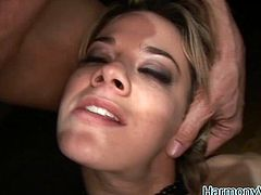 A nasty fuckin' slut takes on two cocks and gets double penetration in this kick-ass threesome scene right here. Check it out!