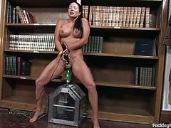 Salacious bvrunette milf Joelean is getting naughty in the study. She oils her body and fondles herself and then takes a good ride on a fucking machine.