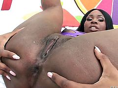 Darky Tatiyana Foxx gives mans rock solid rod a try in steamy interracial action