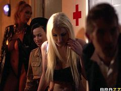 Lady mutant Victoria Summers with perfect huge boobs is dangerously sexy. She loses her prisoner uniform and then has great sex with Leigh Darby and Georgie Lyall. Guys join the action as well in this parody.