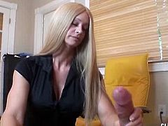 This horny dude went to his hot blonde MILF shrink to release the tension. She easily agreed to help him out and started to stroke his cock for a big cumshot.