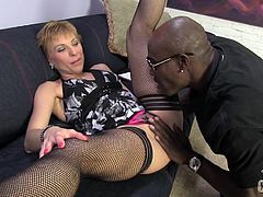 Nasty Gemma More gives skillful blowjob to Black guy. After that she spreads legs and takes hard pussy fucking. Then she also gets ass fucked and creampied.