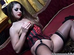 Have fun with this hot scene where the horny babe Cathy Heaven plays with herself before being fucked by a big fat cock.