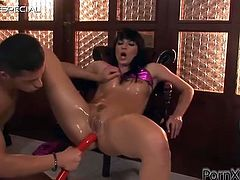 Watch this hardcore scene where Katja Black is masturbated by this guy as he nails her holes with two dildos before fucking her silly.