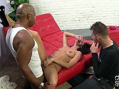 Click to watch this long haired wife, wearing a miniskirt, and her cuckold, where she ends up getting fucked by a black guy and moans like a real pornstar!