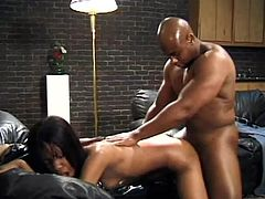 Pretty black girl Santag and her BF are having some good time together. They kiss and pet each other and then the hottie gives a blowjob to the man and lets him drill her snatch in side-by-side position.