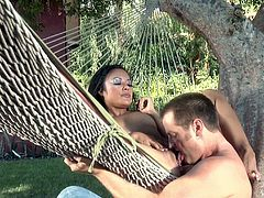 Kaylani Lei gets her shaved pussy drilled outdoors