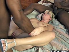 She is so fucking hungry and wicked wet about these two huge black cocks! They move in her mouth and then move in her pussy!