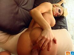 She strips off her sexy uniform, sucks on this lucky guy's cock then climbs on top and rides his shaft until she cums all over it.