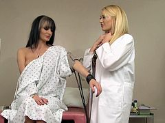 Watch this horny doctor and her smoking hot patient having a great lesbian scene after getting her daily check up.