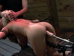 Hot blonde screams like crazy during a nasty hardcore BDSM fuck