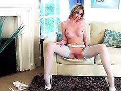 Perri Doran demonstrates her naughty bits before she plays with herself