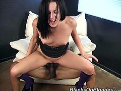 She was pleasuring her wet clam when that horny dude came and pulled out his big rod to gave her extra pleasure. Enjoy watching this interracial sex.