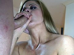 This amazing girl sucks big cock passionately. Later on she takes clothes off and rides big hard dick. This dude fucks Holly in the presence of his wife.