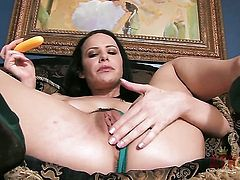 Brunette exotic Katie St Ives makes no secret of her muff and melons