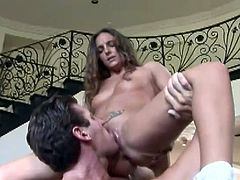 So, here is this hot sex story with a charming and sizzling babe Lexi Love. She lets him eat her pussy and then he sticks his dick deep in that pierced one!