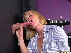 Press play to watch this blonde cougar, with titanic bazookas wearing high heels, while she sucks two dicks and gets drilled with watching the lucky guy!
