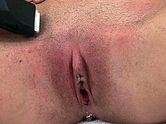 Petite babe shows off when shaving her twat during a naughty solo