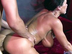 Gorgeous curvy brunette Lisa Ann is playing dirty games with a few men. She sucks their schlongs ardently and then gets her cunt and butt pounded a the same time.