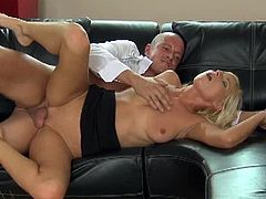 Vanessa is ready to get the raise, but first she has to fuck her horny big dicked boss. She sucks his cock on the leather couch and takes it deep into her pussy.