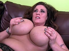 Hot cougar Eva Notty loves feeling huge cock fucking and splashing her tits