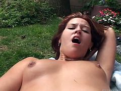 Brandi Lace and Trisha Rey have fun outdoors. These lesbians lick and toy each others shaved pussies in close-up video.