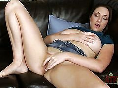 Brunette exotic Melanie Hicks touches her twat playfully