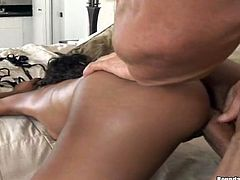 This is an interracial threesome sex with two juicy ebony babes. They go for his white cock and make it huge in a double blowjob!
