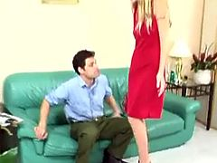 Amazingly hot blonde Faye has a beautiful red dress that gets ripped aside and she gets an ass beating! Slut is going to learn after her pussy gets slapped!