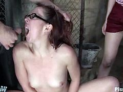 These two babes are so fucking weird. They wanna get messy and this dude has a damn gallons of piss to provide. They suck his cock too!