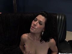 Slutty brunette Rebeca Linares enjoys a fat cock in her tight butthole. He sticks it deep inside and shoots his huge cumload on her sweet face!